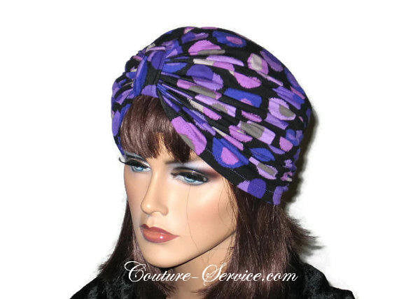 Handmade Purple Double Knot Turban, Black, Polka Dot - Couture Service  - 1