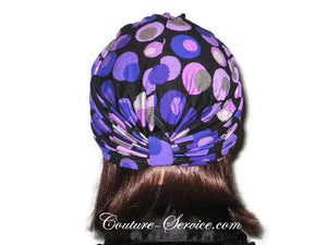 Handmade Purple Double Knot Turban, Black, Polka Dot - Couture Service  - 4