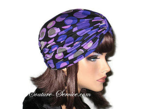 Handmade Purple Double Knot Turban, Black, Polka Dot - Couture Service  - 3