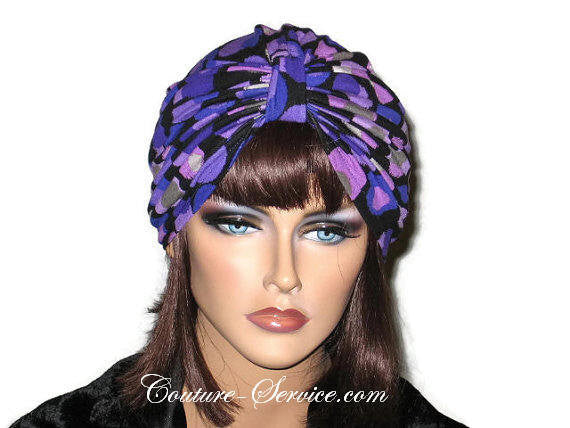 Handmade Purple Double Knot Turban, Black, Polka Dot - Couture Service  - 2
