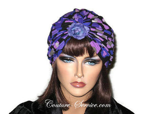 Handmade Purple Double Knot Turban, Black, Polka Dot - Couture Service  - 5