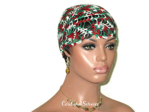 Handmade Green Pineapple Lace Cloche, Red Variegate - Couture Service  - 1