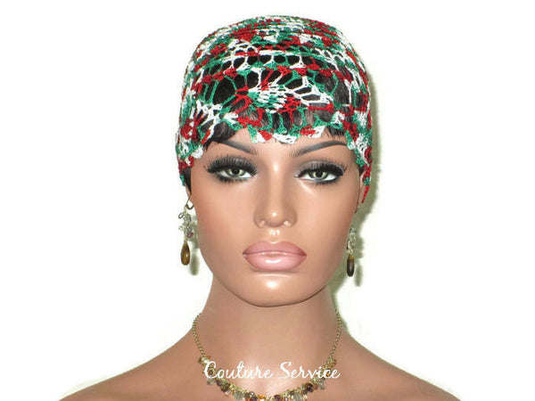 Handmade Green Pineapple Lace Cloche, Red Variegate - Couture Service  - 2
