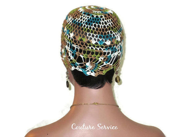 Handmade Green Pineapple Lace Cloche, Teal, Variegate - Couture Service  - 4