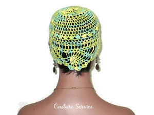 Handmade Yellow Pineapple Lace Cloche, Lime, Variegate - Couture Service  - 4