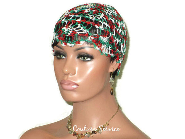 Handmade Green Pineapple Lace Cloche, Red Variegate - Couture Service  - 3
