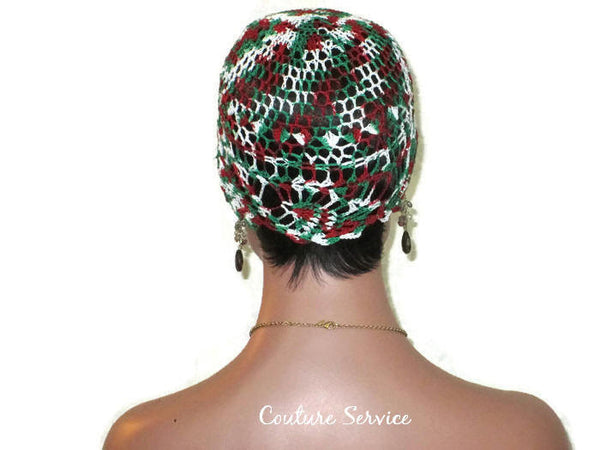 Handmade Green Pineapple Lace Cloche, Red Variegate - Couture Service  - 4