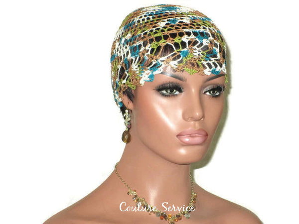 Handmade Green Pineapple Lace Cloche, Teal, Variegate - Couture Service  - 3
