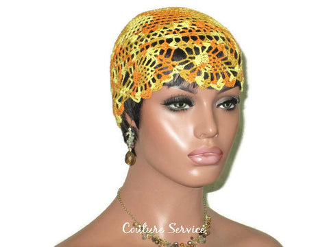 Handmade Yellow Pineapple Lace Cloche, Variegate, Orange - Couture Service  - 1