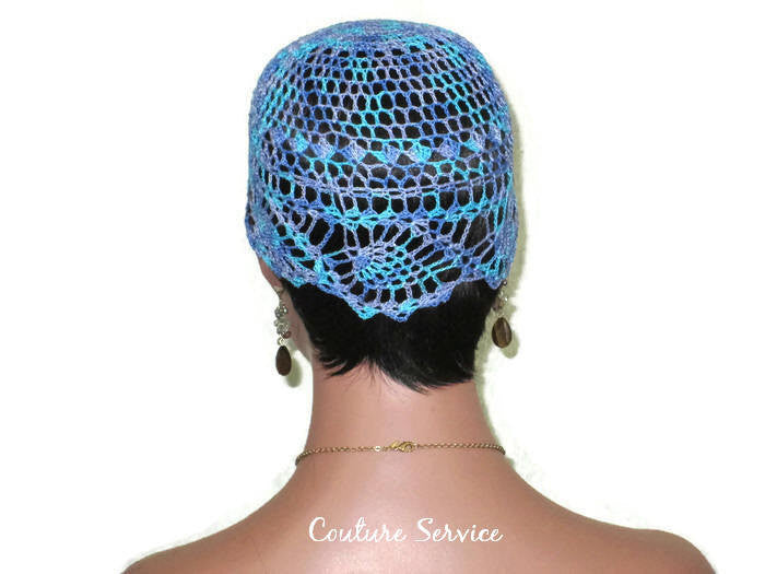 Handmade Blue Pineapple Lace Cloche, Windsor Variegate - Couture Service  - 4