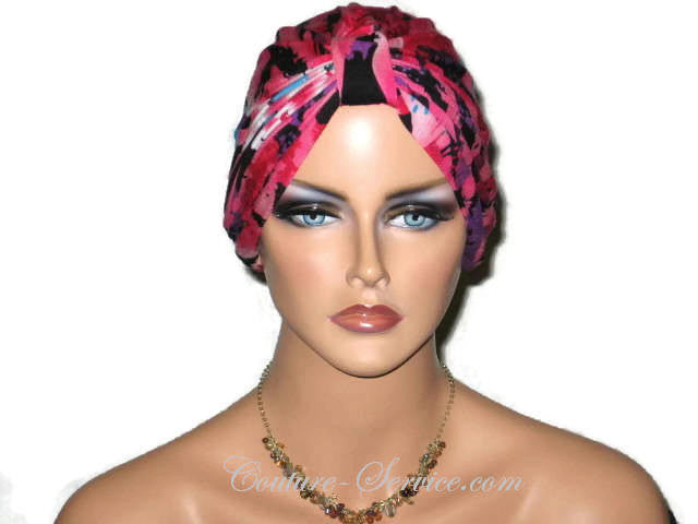 Handmade Pink Chemo Turban, Abstract, Rose - Couture Service  - 1