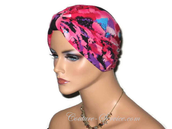 Handmade Pink Chemo Turban, Abstract, Rose - Couture Service  - 4