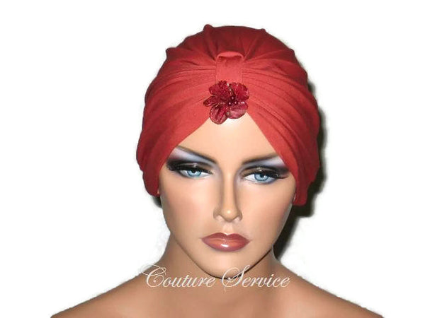 Handmade Orange Chemo Turban,  Burnt Orange - Couture Service  - 5