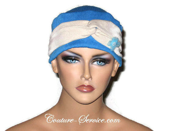 Handmade Blue Chemo Twist Cap Turban, Size Small - Couture Service  - 1