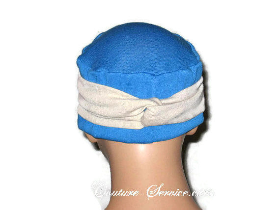 Handmade Blue Chemo Twist Cap Turban, Size Small - Couture Service  - 3