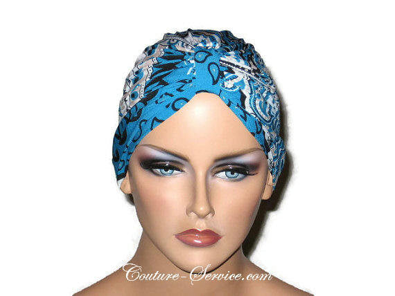Handmade Blue Chemo Turban, Abstract, Peacock - Couture Service  - 1