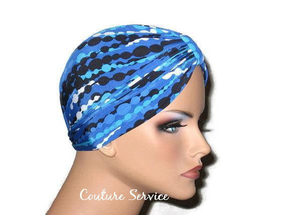 Handmade Blue Chemo Turban, Abstract, Navy - Couture Service  - 4