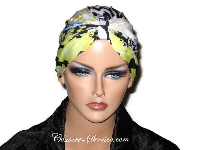 Handmade Yellow Chemo Turban, Abstract, Black - Couture Service  - 1