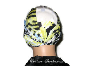 Handmade Yellow Chemo Turban, Abstract, Black - Couture Service  - 3