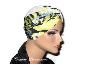 Handmade Yellow Chemo Turban, Abstract, Black - Couture Service  - 4
