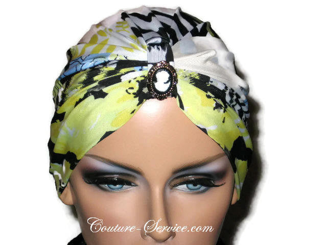 Handmade Yellow Chemo Turban, Abstract, Black - Couture Service  - 5
