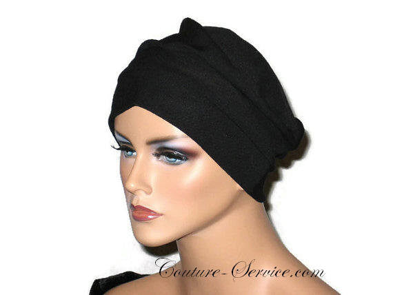Handmade Black Draped Chemo Turban, Small - Couture Service  - 1