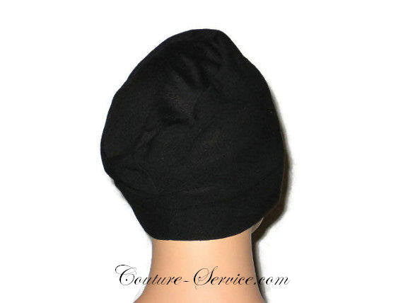 Handmade Black Draped Chemo Turban, Small - Couture Service  - 4