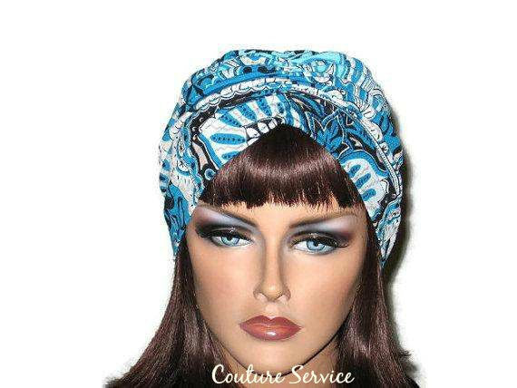 Handmade Blue Turban, Center Shirred, Abstract - Couture Service  - 1