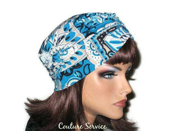 Handmade Blue Turban, Center Shirred, Abstract - Couture Service  - 4