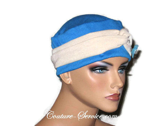 Handmade Blue Chemo Twist Cap Turban, Size Small - Couture Service  - 2
