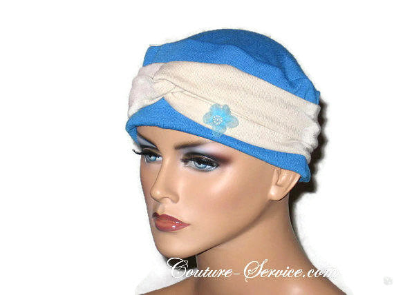Handmade Blue Chemo Twist Cap Turban, Size Small - Couture Service  - 4