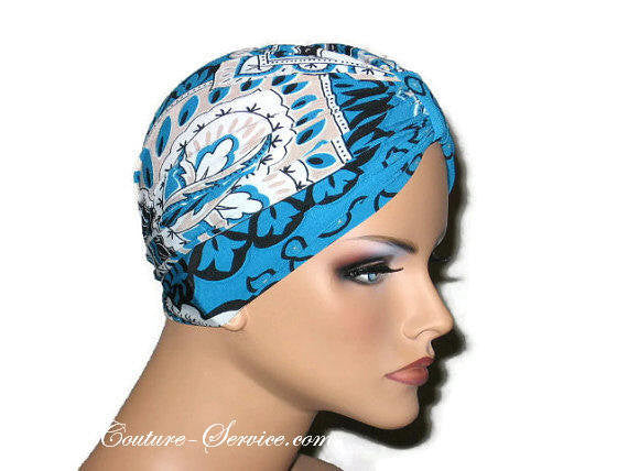 Handmade Blue Chemo Turban, Abstract, Peacock - Couture Service  - 2