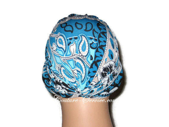 Handmade Blue Chemo Turban, Abstract, Peacock - Couture Service  - 3