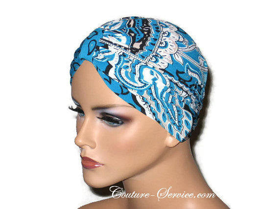 Handmade Blue Chemo Turban, Abstract, Peacock - Couture Service  - 4