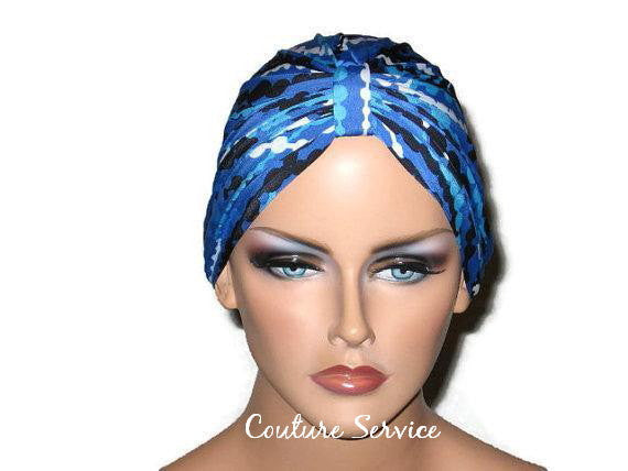 Handmade Blue Chemo Turban, Abstract, Navy - Couture Service  - 1