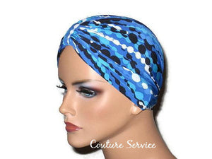 Handmade Blue Chemo Turban, Abstract, Navy - Couture Service  - 2