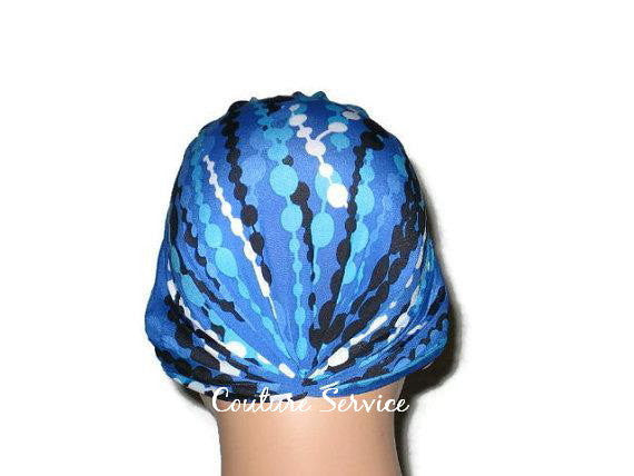 Handmade Blue Chemo Turban, Abstract, Navy - Couture Service  - 3