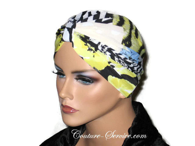 Handmade Yellow Chemo Turban, Abstract, Black - Couture Service  - 2
