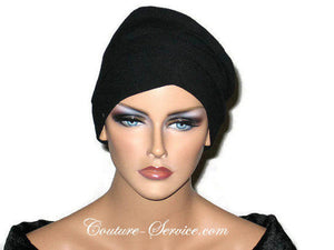 Handmade Black Draped Chemo Turban, Small - Couture Service  - 2