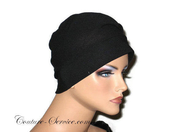 Handmade Black Draped Chemo Turban, Small - Couture Service  - 3