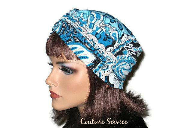 Handmade Blue Turban, Center Shirred, Abstract - Couture Service  - 2