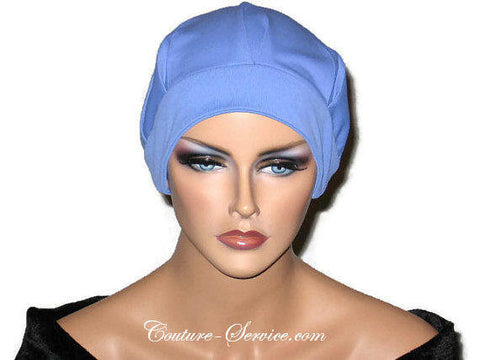 Handmade Blue Chemo Turban, Periwinkle, Pleated with Ties - Couture Service  - 1