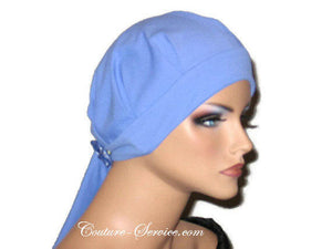 Handmade Blue Chemo Turban, Periwinkle, Pleated with Ties - Couture Service  - 4