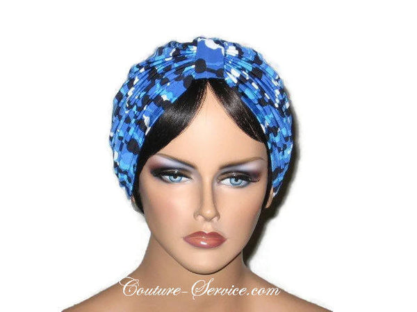 Handmade Blue Double Knot Turban, Abstract, Navy - Couture Service  - 1
