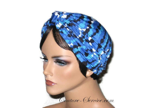 Handmade Blue Double Knot Turban, Abstract, Navy - Couture Service  - 2