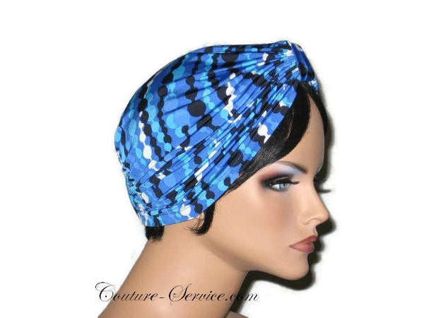 Handmade Blue Double Knot Turban, Abstract, Navy - Couture Service  - 4