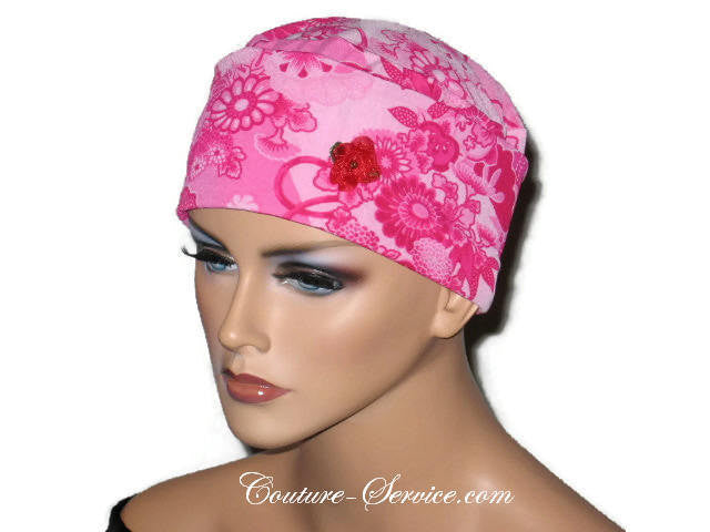 Handmade Pink Chemo Turban, Floral - Couture Service  - 1