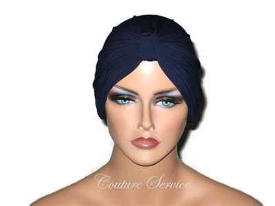 Handmade Blue Chemo Turban, Navy - Couture Service  - 1