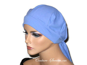 Handmade Blue Chemo Turban, Periwinkle, Pleated with Ties - Couture Service  - 2