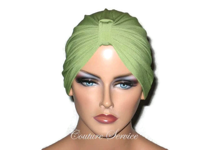 Handmade Green Chemo Turban, Olive - Couture Service  - 1